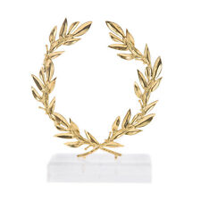 Olive Wreath, Handmade of Brass Ornament with Golden Patina, Height 15cm  5.9''