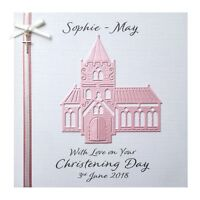 Personalised Christening Card Church - Girl or Boy - Handmade