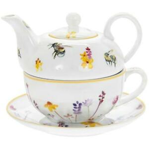 Colourful Busy Bees and Floral Fine China Tea For One Cup Mug Teapot