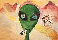 Vintage abstract surrealist watercolor painting portrait smoking alien
