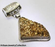 GOLDEN DRUZY PENDANT 925 STERLING SILVER ARTISAN JEWELRY COLLECTION Y220B