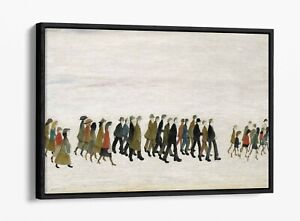 LS LOWRY A PROCESSION -FLOAT EFFECT CANVAS WALL ART PIC PRINT- GREY BROWN