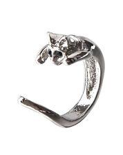 Monili d'argento regolabile placcato gatto dell'anello di figura E3G1
