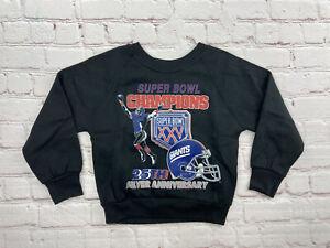 Vintage 1990 Superbowl XXV New York Giants Black Crewneck Sweatshirt Kids Size 4