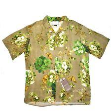 NWT $960 GUCCI Mens Beige Blooms Floral Print Viscose Hawaiian Shirt L AUTHENTIC