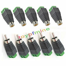 10 pcs Speaker Wire cable to female & male RCA Connector Adapter Jack Plug LED