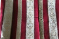 Vintage French 80s Burgandy Cream Gold Stripe Satin Brocade Fabric 2ft x 9ft