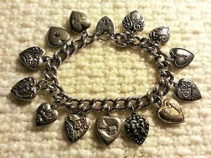 40's Vintage Sterling Silver Puffy Heart Charm Bracelet Repousse, Enamel & Gems