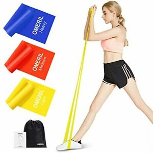 OMERIL Resistance Bands Set, 3 Pack Latex Exercise Bands with 3 Resistance Level