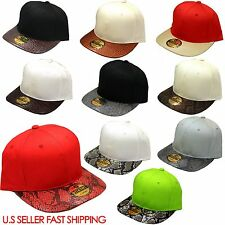 NEW SNAKE SKIN Snap back Flat Bill Hat Cap COTTON SNAPBACK CAP