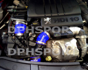 PEUGEOT 207 HDi GT 1.6 110 TURBO INTERCOOLER SILICONE BOOST HOSE KIT BLUE