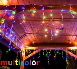100 LEDs Lichterkette Weihnachtsbeleuchtung Eisregen Deko IP44 Multicolor Bunt