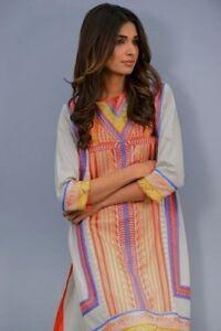 New Khaadi Pret Designer Sz10 Eid EMBROIDERED Coton KURTA Kurti Kameez Tunic Top