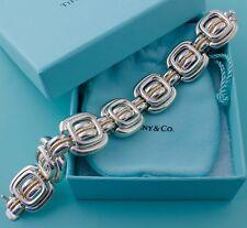 Stately Tiffany & Co Signature 18K Yellow Gold Silver Cushion Square Bracelet