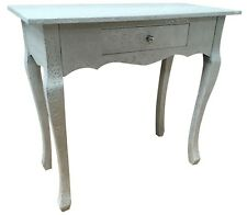 White & Silver Console Desk Bedroom Table Metal Hammered 1 Drawer Retro Storage