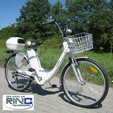 """Bicicleta eléctrica 26"""" E-Bike 250 W Elektro bicicleta Pedelec City Bike Alu rueda de plata"""
