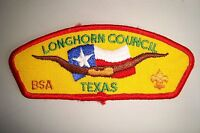 OA LONGHORN COUNCIL SHOULDER PATCH SCOUT CSP TEXAS SMOOTH LIGHT STITCH FDL FLAP