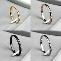 2MM Punk Thin Stackable Rings Stainless Steel Plain Band Finger Knuckle Jewelry