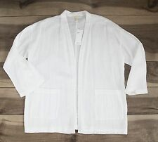 *NEW* with tags $258 Eileen Fisher White Crepe Open Front Jacket/Shirt size S/M