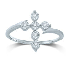Ladies 10K SOLID Gold Cross Ring with Genuine REAL Diamonds