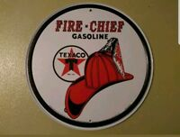 Texaco Fire Chief Round Tin Sign Chevron Fireman- Advertising Metal Gas Oil Shop