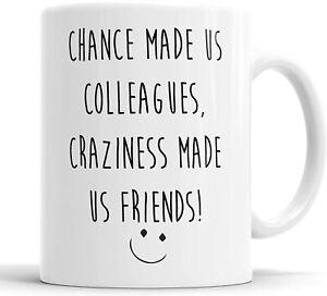 Chance Made us Colleagues Craziness Made Us Friends Mug Sarcasm Sacrastic Funny