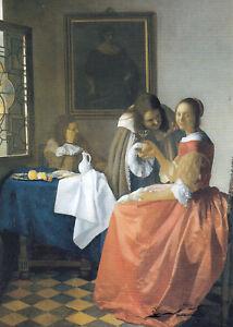 Postkarte: Jan Vermeer van Delft - Das Mädchen mit dem Weinglas