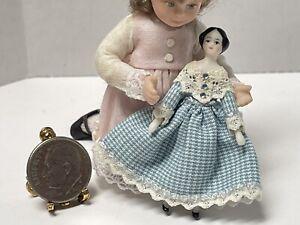 VTG Artisan Tiny Porcelain Hitty Doll For Childs Toy Dollhouse Miniature 1:12