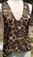 SHOW ME YOUR MUMU semi-sheer tank top Leopard print women's size S, Small