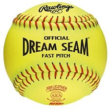 Lot Of 4 Rawlings C12RYLAH Official Dream Seam Fastpitch Softballs Optic Yellow