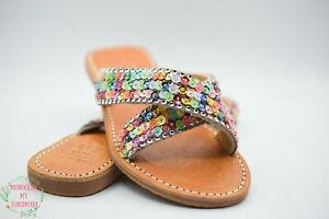 Sandals Beaded Sequins Moroccan Handmade Women Rhinestones Leather Beads Sheep