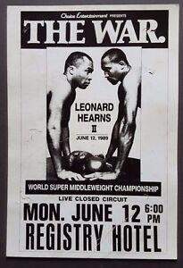 SUGAR RAY LEONARD vs THOMAS HEARNS Original Boxing Style POSTER 1989 LA The War