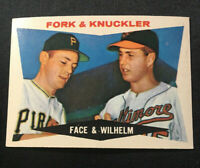 1960 Topps #115 Fork & Knuckler, Face & Wilhelm, Excellent-Near Mint, (EX-NM)