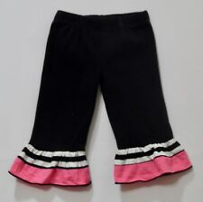 Ann Loren Pink Black White Striped Ruffled Black Pull On Pants, 24 mos.