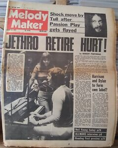 Melody Maker Aug 25th 73 Jethro Tull Neil Young T.Rex Frank Zappa Rolling Stones