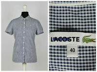 Womens Lacoste Shirt Short Sleeve Top Check Blue Size 40 Cotton