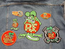 OLD SCHOOL HOT RAT ROD IRON ON PATCH 6 LOT BADGE 1 HUGE RAT FINK DRAG RACING