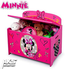 Minnie Mouse Deluxe Toy Box Girls Kids Bedroom Playroom Toy Storage Pink Disney