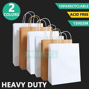 Bulk Kraft Paper Bags Craft Gift Shopping Bag Carry White Brown Bag With Handles