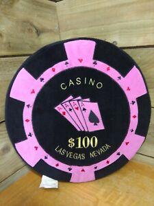 Las Vegas $100 Chip Coin - Novelty Pillow Plush Cushion RARE *FREE UK P&P*