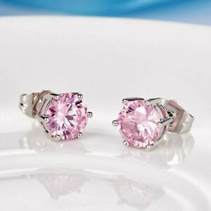 Lovely new 18ct white gold filled pink crystal stud earrings