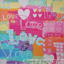 BonEful FABRIC FQ Cotton Quilt Rainbow Heart Kid Hippie Groovy Gothic LOVE Word