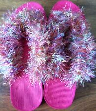 Women's Crocheted Fuzzy Flip Flops Pink With Tropical Fun Fur Size 6 Slippers