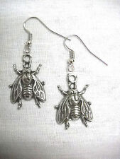 NEW THE FLY / FLIES INSECT HELP ME HAND CAST DANGLING PEWTER PENDANT EARRINGS