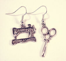 Vintage Singer Sewing Machine & Scissors Earrings-Antique Silver Jewellery-Charm