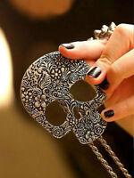 Free Shipping Gothic fashion Long Necklace Retro Skull Skeleton head Chain  w9