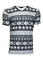 Men's Mono Ethnic Aztec Tribal African Pattern Print T-Shirt Top Tee