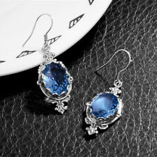 Silver Plated Tear Drop Shaped Aquamarine Crystal Dangle Drop Earrings