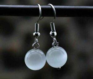 Pretty 10mm Round White Cat's Eye Gemstone Beads Silver Hook Earrings AAA