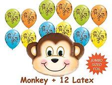 Monkey Jumbo Helium Foil + 12 Latex Balloons Jungle Zoo Animal Decoration